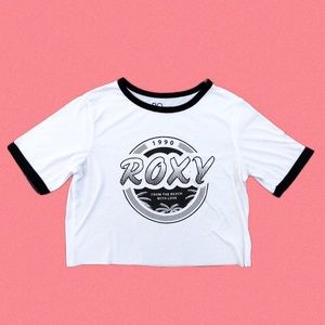 Roxy White Black Ringer Tee Crop Top Women's Small